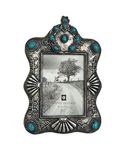 HiEnd Accents Faux Silver and Turquoise Picture Frame, 5x7, ()