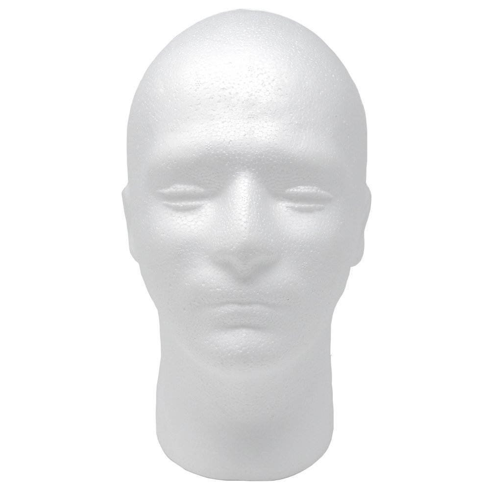 "Male Styrofoam Foam Mannequin Head 11"" (1 count)"