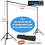 Heavy Duty 9 Feet height Photography/ Filming Backdrop Stand Back Screen Support System, 2 in 1 KIT: Background Stand cum Light Stand for > Studio Light, Porta Light, SoftBox, CFL Holders, DSLR Tripod Head for On-Site Use with BAG [ GizmoGrid ]