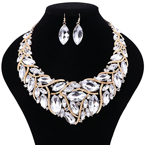 African Beads Jewelry Sets Women Bridal Crystal Statement Necklace Earring Jewelry Sets (White)
