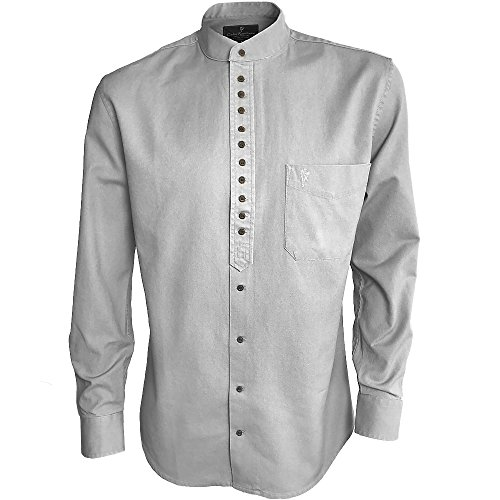 - Traditional Irish Grandfather Collarless Shirt (Ash, M)