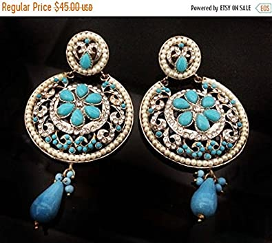 5d65698c4 Amazon.com: Turquoise Chandelier Earring Long Earrings Bridal ...