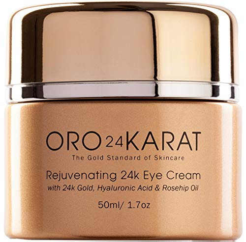 ORO24KARAT Eye Cream with 24k Gold, Anti-Aging Formula with Vitamins, Hyaluronic Acid, Rosehip Oil (Best Affordable Eye Cream For Wrinkles)