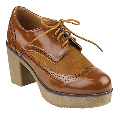 Lace Up Wingtip (Beston EJ37 Women's Classic Fashion Lace Up Wing Tip Platform Chunky Heel Oxford, Color Camel, Size:8.5)
