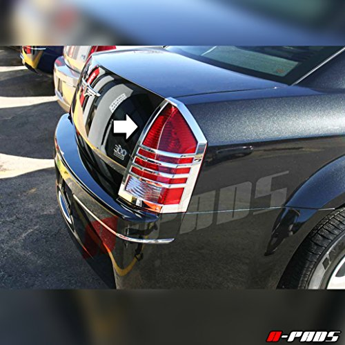 (A-PADS Chrome Tail Light Covers for Chrysler 300 + 300C 2005 2006 2007 - Taillights Lights PAIR)