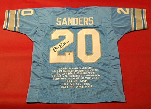 Signed Barry Sanders Jersey - Stat - Autographed NFL (Barry Sanders Stats)