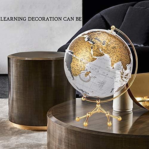 Wereldbol, roestvrijstalen boog en basis/aardewereld, leermiddelen voor aardrijkskunde, decoratieve woonaccessoires, educatief cadeau voor kinderen