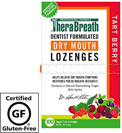 TheraBreath – Dry Mouth Lozenges – Tart Berry Flavor – Soothes Dry Mouth Symptoms – Certified Gluten-Free – Sugar Free – Dentist Formulated Lozenges – 100 Count