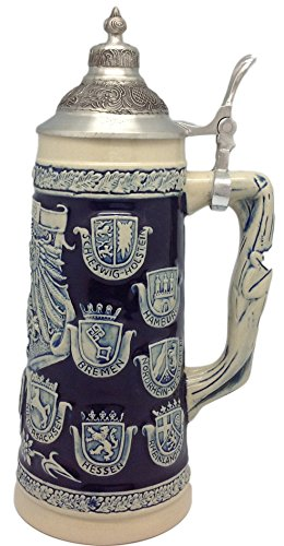 Germany Coats of Arms Collectible Beer Stein with Ornate Metal Lid