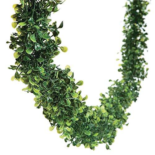 12 Feet BOXWOOD Leaf Garland Wedding Event Dining Table Faux Greenery Vine Decor ()