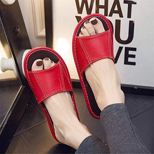 Donna Pantofole Primavera Uomo E Pecora Da Per Donne Autunno Pelle Casa Estate Antiscivolo In Rosse Di Tellw q6wATC