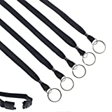 Bulk 100 Pack - Heavy Duty Breakaway Lanyards with Split Key Ring - Heavy Duty with Break-Away Clasp and Keychain Keyring/ID Holder Attachment at Bottom by Specialist ID (Black)