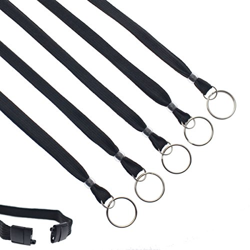 25 Pack - Heavy Duty Breakaway Lanyards for Keys and Id's with Key Chain Split Ring - Break-Away Clasp and Keychain Keyring/ID Holder Attachment at Bottom by Specialist ID (Black)