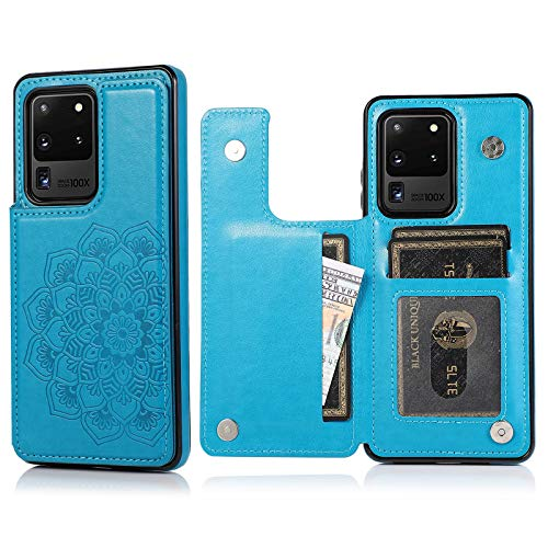 Apucase Galaxy S20 Ultra 5G Case with Card Holders, Slim PU Leather Galaxy S20 Ultra Wallet Cover Folio Flip Drop…