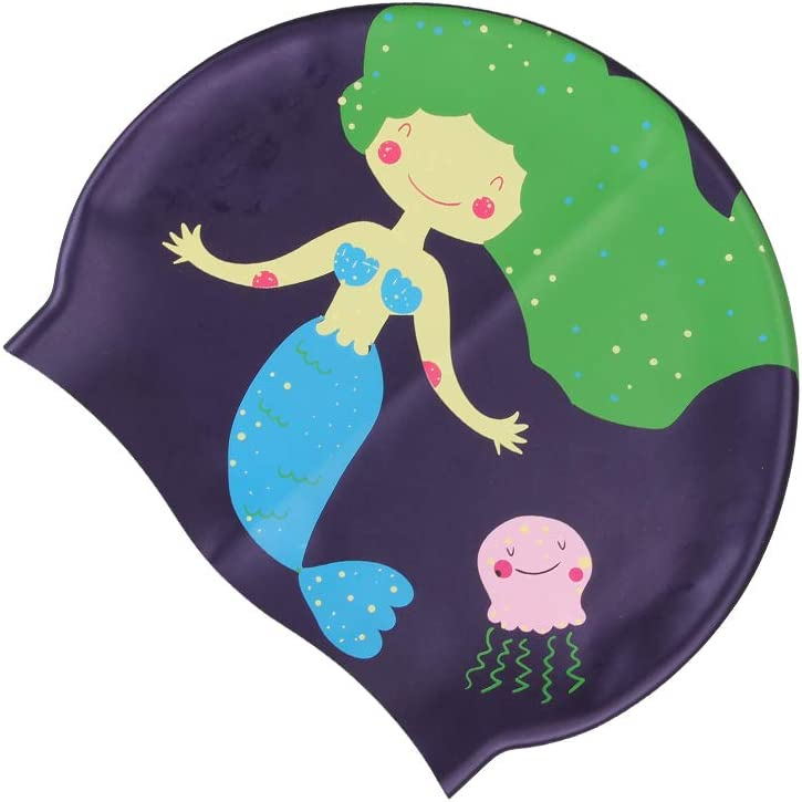 Amazon Com Lo Home Silicone Kids Swim Cap Long Short Hair Children Cute Cartoon Swimming Caps Keep Hair Dry Toddler Waterproof Cap For Girls Boys Mermaid Sports Outdoors