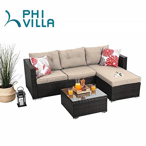 Phi Villa 3 Piece Outdoor Rattan Sectional Sofa Patio