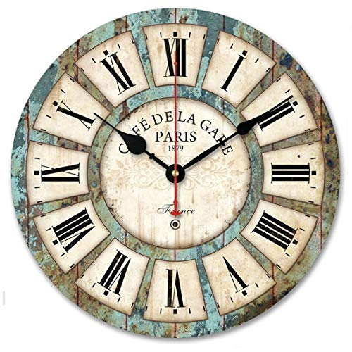 14Inch Rustic Distressed Wall Clock Retro Wood Decorative Clocks Slient No Ticking,for Living Room Farmhouse Deco (14inch)