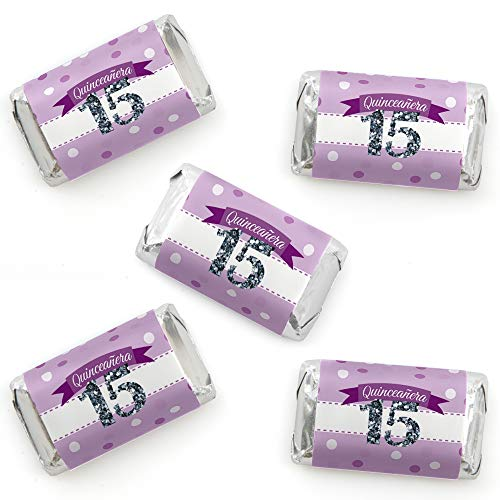 Quinceanera Purple - Sweet 15 - Mini Candy Bar Wrapper Stickers - Birthday Party Small Favors - 40 Count