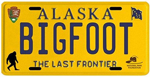 Bigfoot Yeti Sasquatch Metal 1980's Alaska License Plate