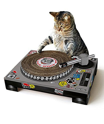 Image: Cat Scratch Turntable | Cardboard scratching deck for cats | A fun distraction for your cats!