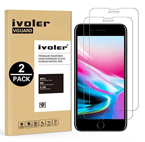 [2 Pack] Pellicola Vetro Temperato iPhone 8 / 7, iVoler ** [Protezione Antigraffi] **Anti-riflesso Ultra-Clear** Ultra resistente in Pellicola iPhone 8 / 7, Pellicola Protettiva Protezione Protettore