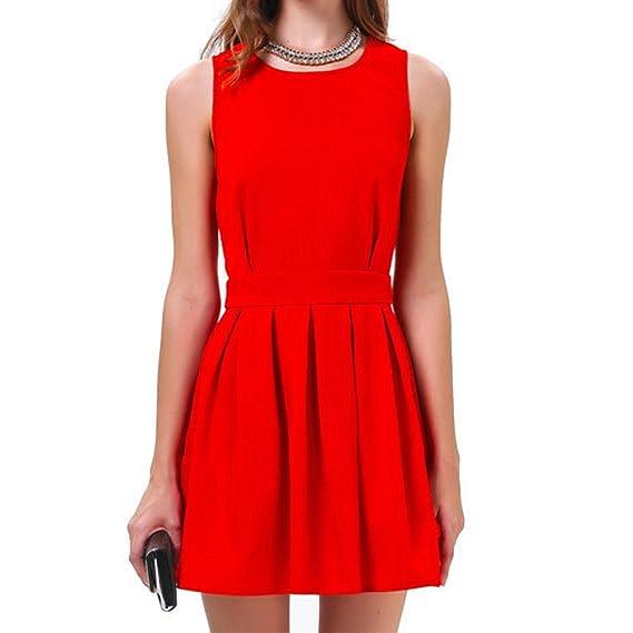 SODIAL(R) Vestido de chaleco atractivo Mini vestido de Fiesta de Espalda abierta Recortable