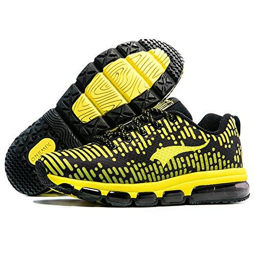 Onemix Lucht Sneakers Mannen Vrouwen Loopschoenen Sportschoenen Met Luchtkussen Sneakers Zwart Geel