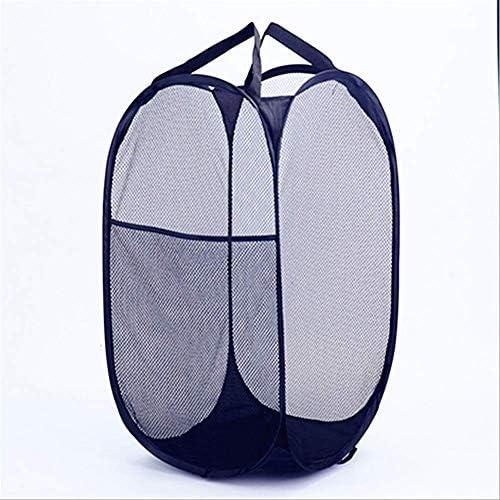 折り畳み可能 ランドリーバスケット メッシュポップアップ 収納バスケット 太いワイヤーハンパー (黒, 36*36*60CM)