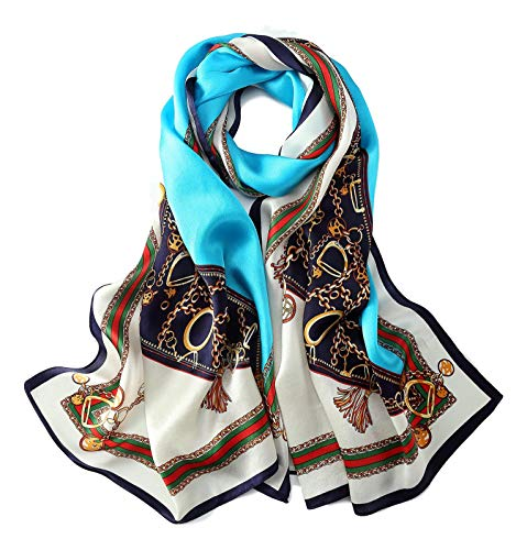 Long Charmeuse Silk Scarf Floral and Graphic Print (Blue - Long Floral Scarf Silk