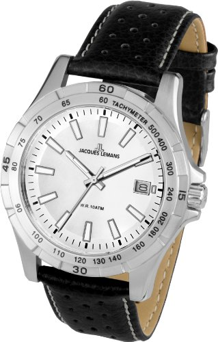 Jacques Lemans Montreal 1-1790B 43mm Stainless Steel Case Calfskin Mineral Men's Watch