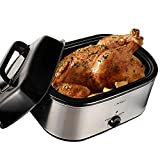 Sunvivi Electric Roaster Oven with Red Light, 22 Quart, Removable Insert Pot, Visible Lid, Stainless Steel, Silver Body and Black Lid