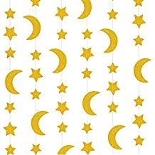 25ft Glitter Gold Twinkle Stars Crescent Paper Garlands Hanging Decorations Honey Moon Wedding Engagement Favors Baby Shower Birthday Christmas Party Table Centerpieces Decorations