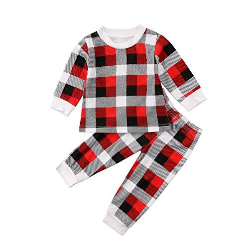 Nightwear Pyjama (Charm Kingdom Baby Boys Girls Striped Plaid Shirt Top and Pants Christmas Nightwear Pajamas Sleepwear Set (Grey, 18 Months))