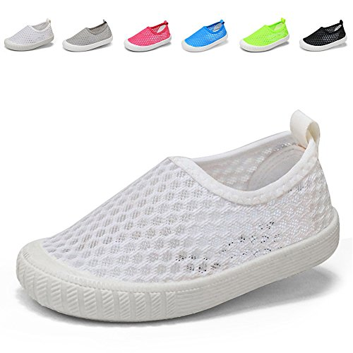 CIOR Kids Slip-On Breathable Sneakers For Running Beach Toddler/Little Kid,808white,25 0