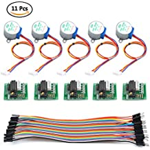 TIMESETL Stepper Motor, 5pcs 28BYJ-48 Step Motor DC 5V + 5pcs ULN2003 Driver Board + 40pin Male to Female Dupont Jumper Wire for Arduino Raspberry PI