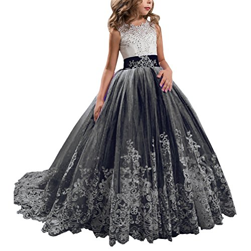 Princess Black Long Girls Pageant Dresses Kids Prom Puffy Tulle Ball Gown US 2 -