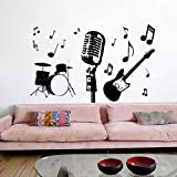 drums window decal - Housewares Vinyl Decal Music Instruments Guitar Drums Microphone Home Wall Art Decor Removable Stylish Sticker Mural Unique Design for Nursery Room tk280 (14x22)