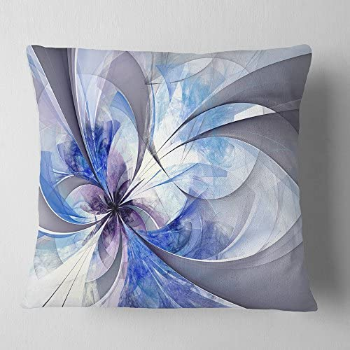 Amazon Com Designart Blue Large Symmetrical Fractal Flower Floral Throw Cushion Pillow Cover For Living Room Sofa 16 In X 16 In Arts Crafts Sewing