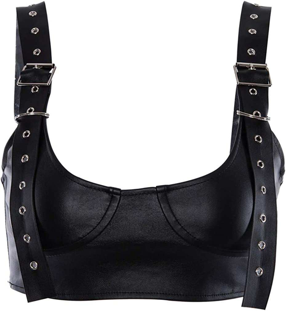 Maxrise Women's Adjustable Spaghetti Straps PU Leather Bustier Crop Tube Top