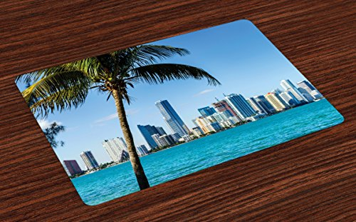 Lunarable Coastal Place Mats Set of 4, Miami Downtown with Biscayne Bay Buildings and Palm Tree Panoramic Art, Washable Fabric Placemats for Dining Table, Standard Size, Sky - Miami Biscayne Bay