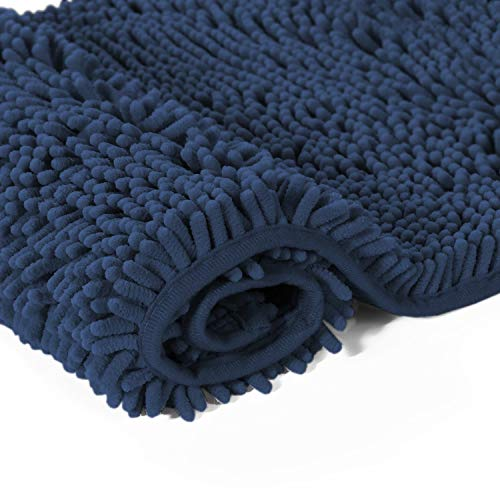 H.VERSAILTEX Push Microfiber Bath Rugs Chenille Floor Mat Ultra Soft Washable Bathroom Dry Fast Water Absorbent Bedroom Area Rugs Kitchen Rugs Non Skid, 17 x 24 inches, Navy Rug