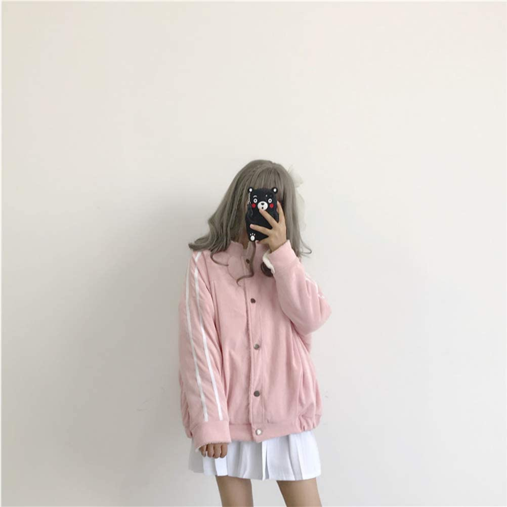 YAXAN Womens Loose Thick Long Sleeve Solid Color Button Lambs Wool Baseball Jacket Tops Outerwear Jacket Coats Color : Pink, Size : OneSize