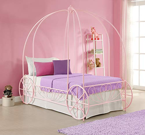 (DHP Metal Carriage Bed, Fairy Tale Bed Frame, Shabby-Chic Style, Twin, Pink)
