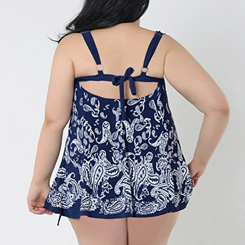 Zhhlaixing Two-piece Plus Size Swimwear Swimdress Summer Womens Beach Elastic Swimsuit Dark Blue