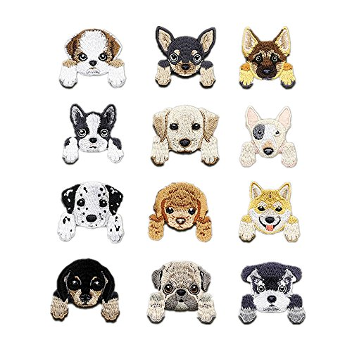 12 Pcs Dog Iron On Patches Embroidered Appliques DIY Decoration or Repair,Sew On Patches for Clothing Backpacks Bookbag Jeans T-Shirt Caps Shoes