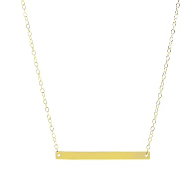 Amazoncom Sterling Silver HORIZONTAL BAR Necklace GOLD Bar