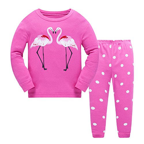 Popshion Little Girls Flamingos Pajamas Sets Toddler Long Sleeve Leggings Outfits 2 Piece Kids 2-7 T - 3 Piece Long Sleeve Pajama Set