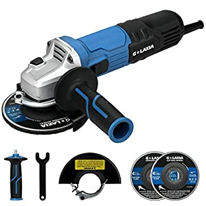 """Angle Grinder, G LAXIA 900W 115mm (4.5"""") Grinder Tool, Includes 1pc Grinding Wheel and 1pc Cutting Wheel, Side Handle…"""