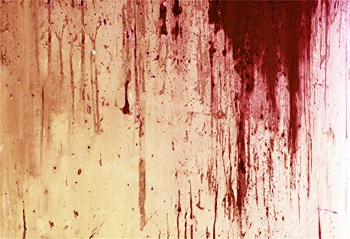 Laeacco Halloween Theme Backdrop 7x5ft Vinyl Photography Background Grunge Weathered Blood Splashed Cement Wall Trick or Treat Zombie Party Child Baby Shoot Violent Film Occasion -