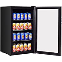 K&A Company Can Beverage Cooler Refrigerator 120 Stainless Bottle Steel Center Wine Glass Door Fridge New